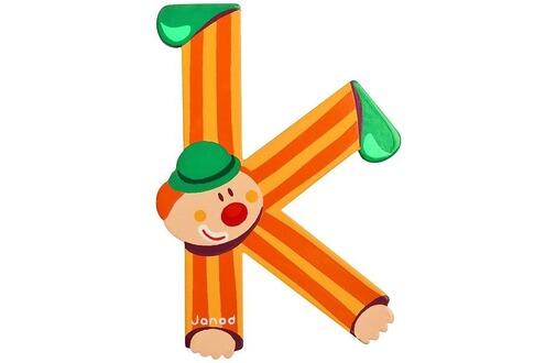 Janod lettre d corative clown en bois k - Lettre decorative en bois ...