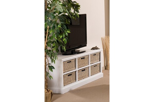 Natura meuble tv 6 tiroirs rotin bois blanc for Meuble tele bois blanc