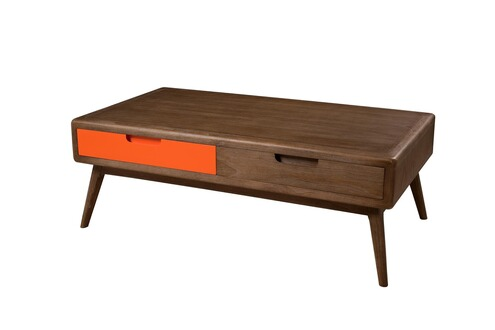 sympa table basse 2 tiroirs bois mindi marron et orange. Black Bedroom Furniture Sets. Home Design Ideas