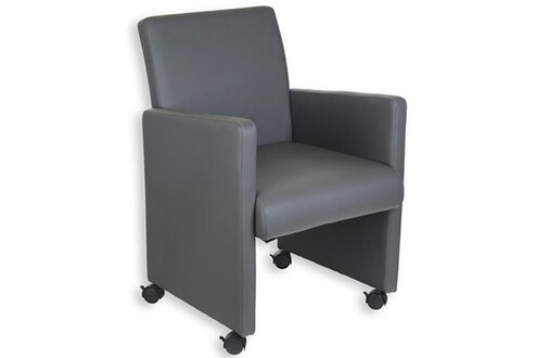 idimex fauteuil sur roulettes simili cuir gris. Black Bedroom Furniture Sets. Home Design Ideas