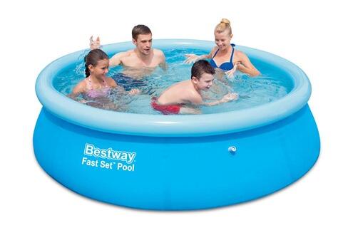 Bestway piscine autoportante ronde fast set pool for Piscine tubulaire ronde 2 44