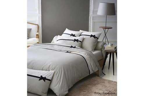 tradi linge housse de couette frou fou couleur lin taille 140x200. Black Bedroom Furniture Sets. Home Design Ideas