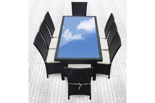 Rocambolesk magnifique salon de jardin vitoria 8 table - Salon de jardin en resine tressee luxe poly rotin ...