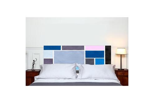 mademoiselle tiss t te de lit en tissu poudr es bleue fixer sans support en bois. Black Bedroom Furniture Sets. Home Design Ideas