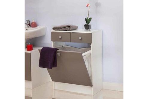 Mobilier rangement salle de bain avec tiroirs et bac - Meuble salle de bain avec panier a linge integre ...