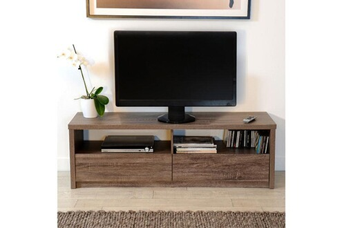 Mobilier meuble tv bas en bois avec niches et tiroirs for Meuble tv 90 cm de longueur