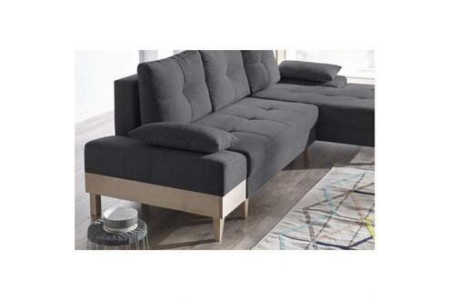 bobochic canape d 39 angle convertible sven i droit pieds et accoudoir en bois enjoy anthracite. Black Bedroom Furniture Sets. Home Design Ideas