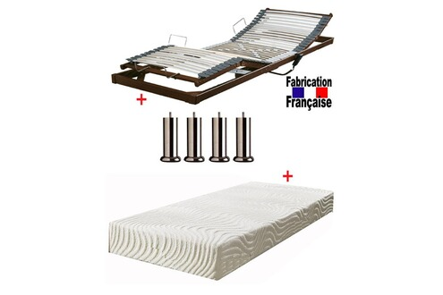 direct ameublement pack sommier 90 relax lectrique extra plat matelas m moire de forme tissu. Black Bedroom Furniture Sets. Home Design Ideas