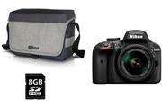 Nikon D3400 + AF-P 18-55MM VR + HOUSSE + SD 8GO