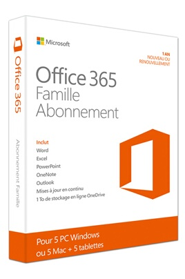 microsoft office 365 famille 5 pc ou mac abonnement 1 an office 365. Black Bedroom Furniture Sets. Home Design Ideas
