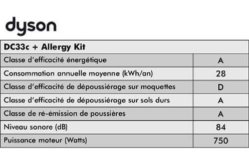 Dyson DC33C Origin aspirateur sans sac + KIT ALLERGIES