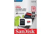 Sandisk SanDisk - Carte mémoire Ultra Android microSDHC 16GB + SD Adapter + Memory Zone App 98MB/s A1 Class 10 UHS-I