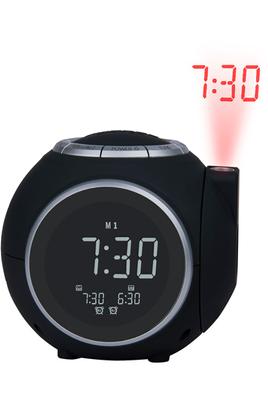 Radio réveil - Projection de l´heure avec rotation à 180°Tuner FM - 10 stations programmablesDouble alarme - Sons de la nature inclusFonction Sleep et Snooze