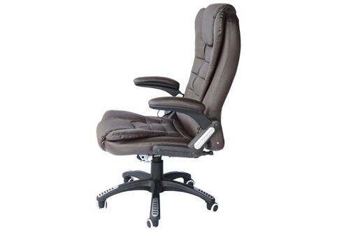 HOMCOM Chaise De Bureau Pivotante Fauteuil Direction Massage Electrique Massant Relaxation Chocolat