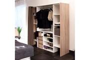 Maisonetstyles Dressing 2 colonnes + meuble 4 tiroirs, rideau taupe