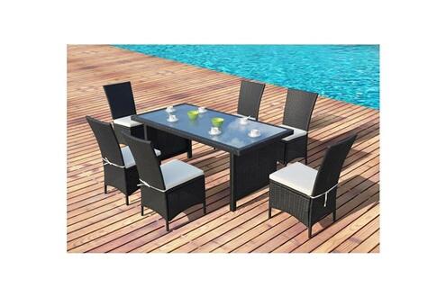 Rocambolesk Magnifique salon de jardin vitoria table + 6 fauteuils ...