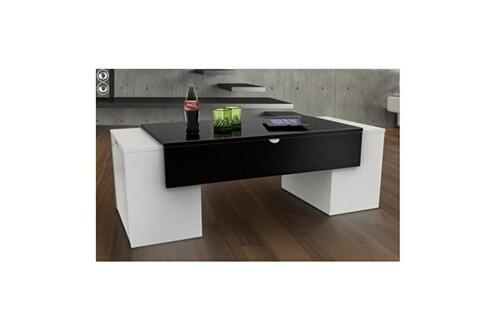 Usines Discount Lucky Table Basse 123 Cm Noir Et Blanc Haute Brillance