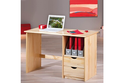 Homelife24 bureau informatique sinus 3 tiroirs bois massif vernis