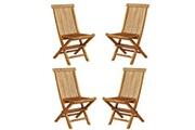 Bois Dessus Bois Dessous Lot de 4 chaises de jardin pliantes en bois de teck huilé