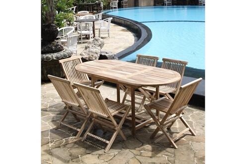 Bois Dessus Bois Dessous Salon de jardin en bois de teck brut 6 pers - table 120/170x80 + 6 chaises