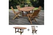 Maisonetstyles Table de jardin 160/210x100x75cm + lot de 6 chaises
