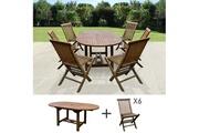 Maisonetstyles Table de jardin 120/170x100x75 + lot de 6 chaises