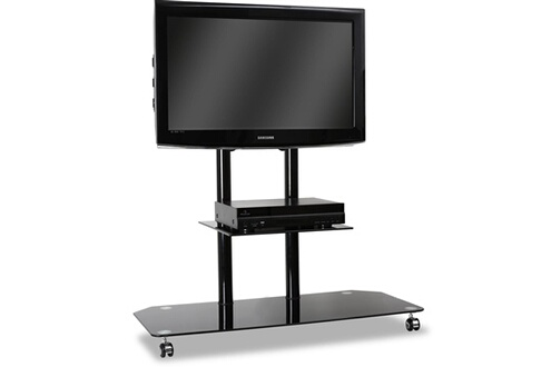 electronic star electronic star support tv pied verre aluminium roulettes noir. Black Bedroom Furniture Sets. Home Design Ideas
