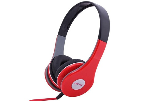 Yonis Casque Stereo Anti Bruit Casque Arceau Isolation Phonique Rouge