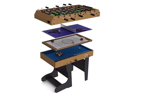 c24a1cc6713c94 Riley Table de jeu pliable 4en1 12 jeux   air hockey   babyfoot   billard