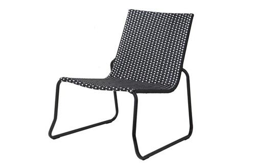 mobilier fauteuil lounge bas acier et r sine tress e noir et blanc chess. Black Bedroom Furniture Sets. Home Design Ideas