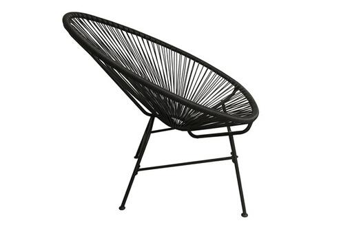mobilier fauteuil bas 4 pieds en fil de r sine et acier noir acapulco. Black Bedroom Furniture Sets. Home Design Ideas