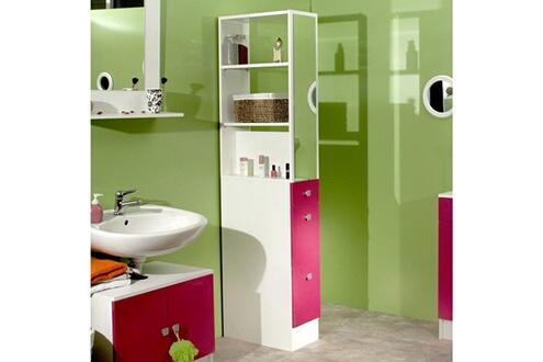 Mobilier Colonne salle de bain 3 tiroirs 1 miroir l24.5xp54xh181 ...
