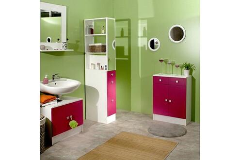 Mobilier Colonne salle de bain 3 tiroirs 1 miroir l24.5xp54xh181.50cm banio  - blanc / fushia