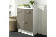 Mobilier Elément bas 2 portes 2 tiroirs l60xp29.6xh81cm banio - blanc / taupe