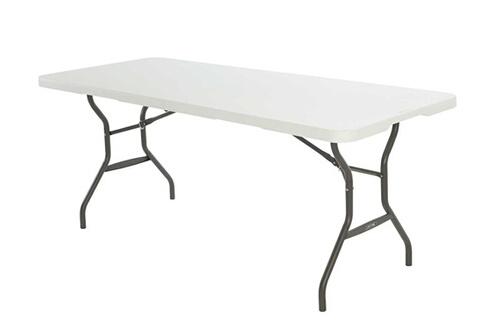 Mobilier Table de jardin en résine pliante blanche transformable en  valisette 180x76cm