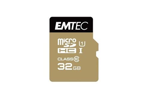 GENERIQUE MicroSDHC 32Go EMTEC +Adapter CL10 Gold+ UHS-I 85MB/s - Sous blister