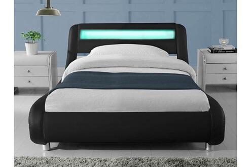 Espace A Design Lit Led Design Julio Noir 90 Cm Lit Led Avec Télécommande Et Un Sommier à Lattes