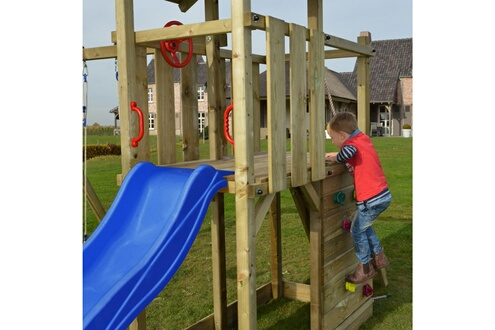Vidaxl Portique en bois avec échelle, glissoire et balançoire 9ba39656e5be