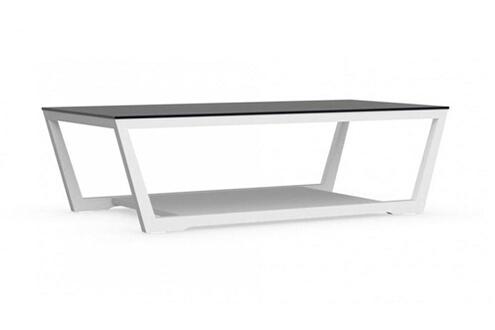 inside 75 table basse element blanche avec plateau en verre noir - Inside75 Table Basse
