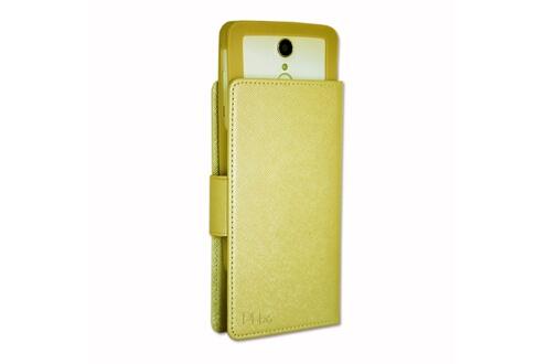 PH26® HP Elite x3 Etui Housse folio or gold façon cuir texturé avec porte cartes et surpiqûres apparentes by PH26®