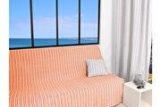 SOLEIL D OCRE Jeté de canapé 170x250 cm cotonade corail