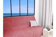 SOLEIL D OCRE Jeté de canapé 170x250 cm cotonade rouge