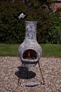 El Fuego Cheminée de jardin en argile Gardeco Morena 100 cm gris pierre