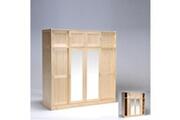 LE QUAI DES AFFAIRES Armoire morzine 4+4 portes avec 2 miroirs / vernis naturel