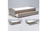 LE QUAI DES AFFAIRES Lit gigogne romain 90x190 + 2 sommiers + 1 tiroir-lit / gris