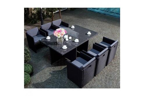 Rocambolesk Magnifique Salon de jardin Florida 6 Noir/Gris : salon ...