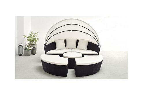 Bobochic Salon de jardin MONACO modulable 6 à 8 places noir blanc