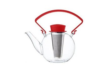 Theiere tea 4 u en verre avec poignee 1l rouge qdo - n2j
