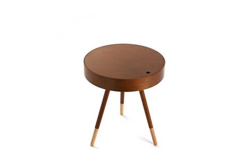 Noyer Wadiga Ronde Bois D'hévéa En Basse Design 1 Finition D'appoint Table nmN0w8