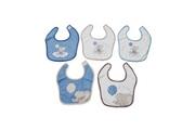 King Bear Lot de 5 bavoirs pour bébé king bear bleu - motif eléphant